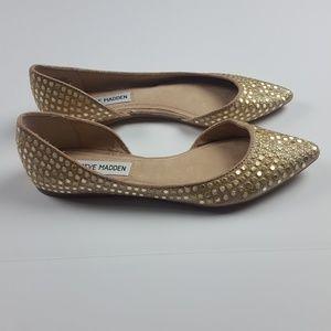 Steve Madden Gold Embellished Ballet Flats